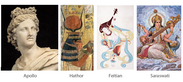 Gods of-Music: Apollo, Hathor, Feitian, Saraswati